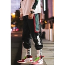 Mens Hip Hop Style Cool Letter Side Tape Patched Drawstring-Waist Loose Casual Track Pants