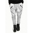 Mens Fashion Solid Color Zipper Pockets Casual Cotton Sweatpants Drop-Crotch Harem Pants