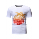 Summer Fashion Tropical Coconut Palm Print Basic Round Neck Short Sleeve Fitted T-Shirt for Men