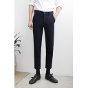 Fashionable Basic Simple Plain Men's Slim Fitted Business Dress Pants