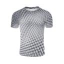 3D Pattern Short Sleeve Round Neck Grey T-Shirt