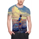 Comic Boy with A Bike 3D Printed Short Sleeve Fitted Unisex Tee
