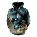 Fashion 3D Wolf Skull Printed Long Sleeve Blue Unisex Casual Drawstring Hoodie