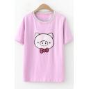 Cartoon Cute Sequins Pig Round Neck Short Sleeve Casual T-Shirt