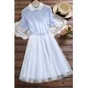 Lovely Doll Collar Mesh Inert Striped Print Short Sleeve Button Front Drawstring Waist Midi A-Line Dress