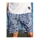 Drawstring Mens Trendy Fast Dry Geometry Printed Surfing Swim Shorts with Pockets