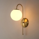 Rustic Globe Shape Wall Light Glass Single Light White Wall Sconce for Kitchen Study