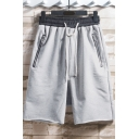 Mens Simple Plain Drawstring-Waist Zip Pockets Loose Fit Sport Sweat Shorts
