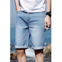 Guys Summer Classic Fit Simple Plain Blue Casual Denim Shorts