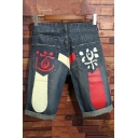 Mens Unique Cool Chinese Character Printed Rolled Cuff Indigo Denim Shorts