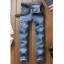 Mens Stylish Embroidery Bee Letter Badge Patchwork Stretch Regular Fit Blue Ripped Jeans