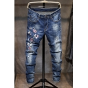 Popular Vintage Floral Embroidery Distressed Ripped Stretch Slim Fit Blue Jeans for Men