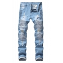 New Fashion Pleated Patched Details Stretch Slim Fit Blue Ripped Biker Jeans for Men