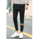 Fashion Cool Stripe Printed Rolled Cuff Slim Fit Jeans for Men