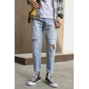 New Stylish Bleach Washed Men's Regular Fit Distressed Ripped Light Blue Jeans