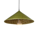 Bamboo Hat Pendant Lighting Single Light Rustic Hanging Light with 39