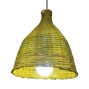 Bamboo Bell Pendant Light 1 Light Pastoral Handmade Hanging Ceiling Lamp with 39