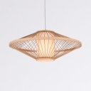 Saucer Patio Pendant Lighting Hand Knitted 1 Light Lodge Hanging Light in Wood