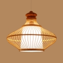 Asian Beige Ceiling Pendant Light with Gourd Shade 1 Light Bamboo Suspended Light