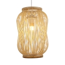 Wood Lantern Hanging Lamp 1 Light Pastoral Rustic Pendant Light in Beige for Foyer