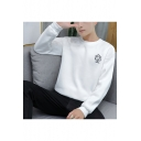 Mens Embroidery Geometry Pattern Round Neck Long Sleeve Loose Casual Sweatshirt