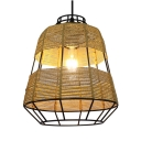 Metal Cage Tapered Hanging Light in Rustic Style Single Head Pendant Ceiling Lights for Restaurant