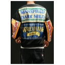 Cool Letter WREXHAM BITTER Printed Patchwork Round Neck Long Sleeve Loose Sweatshirt for Guys