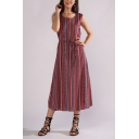 Retro Tribal Printed Round Neck Sleeveless Tied Waist Burgundy Midi A-Line Dress