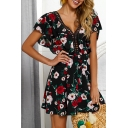 New Arrival Floral Pattern V-Neck Hollow Out Black Mini A-Line Beach Dress