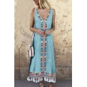 Retro Tribal Printed V-Neck Sleeveless Tassels Hem Maxi Tank Dress