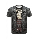Stylish Buckle Chain Skull Printed Round Neck Short Sleeve Casual T-Shirt