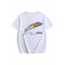 Cool Feather Pen Letter Printed Mens Cotton Round Neck Short Sleeve Tee