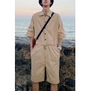 Guys New Popular Solid Color Half-Sleeved Button-Front Drawstring Waist Hip Hop Fashion Work Coveralls Rompers