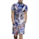 Cool 3D Floral Cat Printed Short Sleeve Shirt Collar Button-Down Fitted Work Rompers