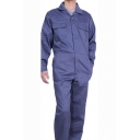Mens Simple Solid Color Long Sleeve Notched Lapel Collar Flap Pocket Front Casual Mechanic Coveralls