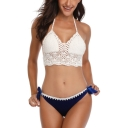 New Stylish Halter Neck Hollow Out Bow Tied Side Knit Bikini