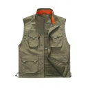 Trendy Outdoor Utility Multi-Pocket Stand Collar Zip Up Fishing Vest Mesh Lined Photography Vest