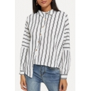 Fashionable Irregular Stripes Print Design Offset Button Closure White Shirt