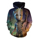 Cool 3D Figure Printed Long Sleeve Relaxed Purple Drawstring Hoodie