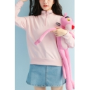 Women's Fashionable Embroidered Letter NEVER SAY DIE Printed Half-Zip Long Sleeve Casual Sweatshirt
