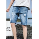 Summer Blue Ripped Distressed Striped Side Mens Fitted straight Denim Shorts