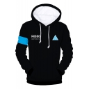 New Fashion 3D Printed Long Sleeve Black Drawstring Hoodies