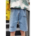 Guys Summer New Trendy Ripped Destroyed Solid Color Straight-Leg Blue Jeans Denim Shorts
