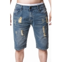 Street Style Fashion Destroyed Ripped Rolled-Cuff Light Blue Denim Shorts for Guys