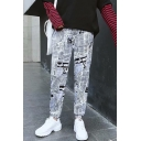 Street Style Hip Hop Newspaper Printed Drawstring Waist Loose Casual Track Pants