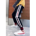 Unisex New Popular Color Block Letter Striped Print Drawstring Waist Casual Sport Pants