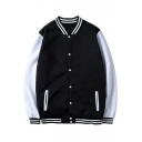 Unisex Basic Simple Stand Collar Long Sleeve Color Block Single-Breasted Baseball Jacket