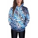 Hot Popular 3D Cool Printed Long Sleeve Blue Pullover Hoodie