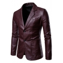 Solid Notched Lapel Collar Double Buttons Long Sleeve Slim PU Blazer Coat for Men