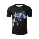 New Trendy Comic Character 3D Print Short Sleeve Unisex Casual Black T-Shirt